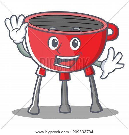 Waving Barbecue Grill Cartoon Character Vector Illustration