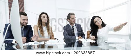 business team discusses the presentation