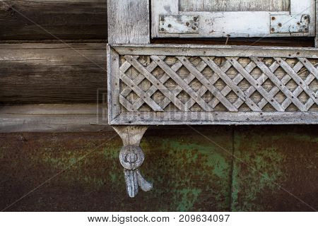 Fragments of the carved wooden trim on old houses in Tomsk, Western Siberia, Russia.