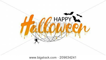 Happy Halloween vector lettering. Holiday calligraphy with spider and web for banner, poster, greeting card, party invitation. Isolated illustration.