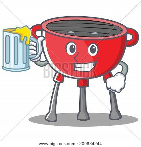 With Juice Barbecue Grill Cartoon Character Vector Illustration