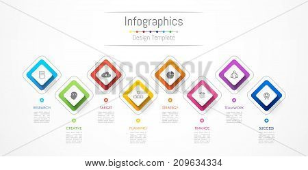 Infographic design elements for your business data with 8 options parts steps timelines or processes. Vector Illustration.