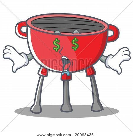 Money Eye Barbecue Grill Cartoon Character Vector Illustration