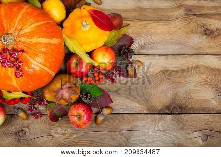 Thanksgiving Background With Pumpkin, Yellow Squash, Apples, Leaves, Copy Space.
