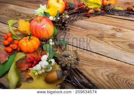 Thanksgiving Wreath With Pumpkins, Apples, White Berries, Copy Space