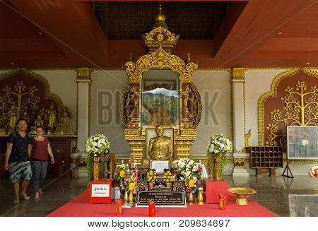 Koh Samui Island, Thailand - June 26, 2017: Temple Wat Khunaram with Mummy of a Buddhist monk Luang Pho Daeng on Koh Samui in Thailand