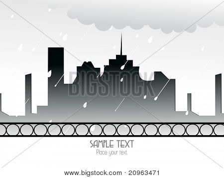 abstract rain falling cityscape background