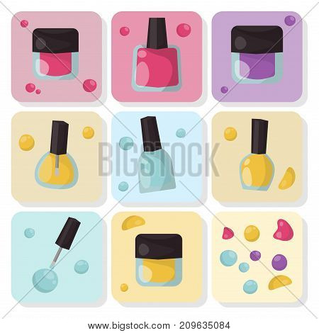Red nail polish bottle varnish enamel glamour fashion liquid. Cosmetic color beauty paint accessory female vector illustration.