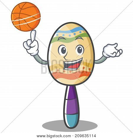 With basketball maracas character cartoon style vector illustration