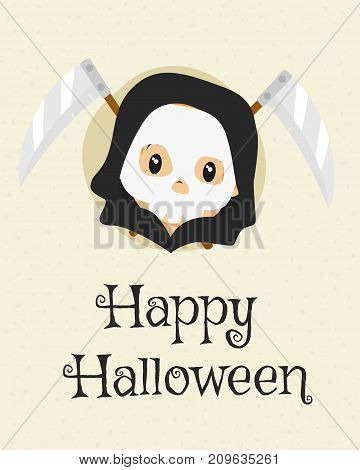 Happy Halloween card design, cute grim reaper and crossed scythes cartoon vector