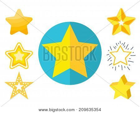 Different style shape silhouette shiny star icons collection vector illustration. Pointed pentagonal gold award. Abstract design star symbol. Vector shape graphic element.