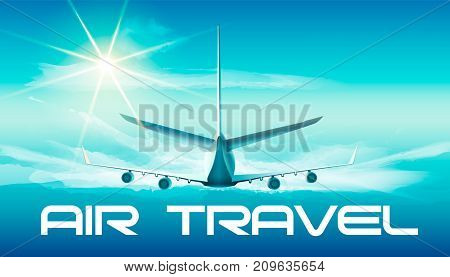 Vector illustration of jet in blue sky with air travel word in back view.