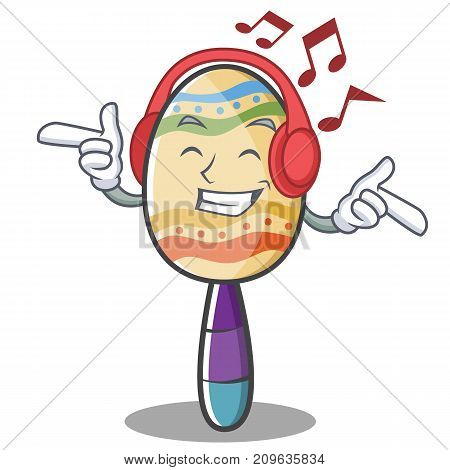 Listening music maracas character cartoon style vector illustration