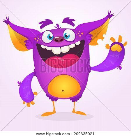 Angry cartoon monster. Vector illustration of violet monster troll mascot