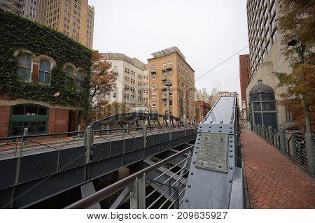 January 8, 2016 San Antonio: the North Presa street bridge crossing the San Antonio river was built in 1925
