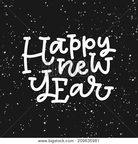 Happy new year hand lettering on black background. Can be used on postcards, invitations, bags and etc.