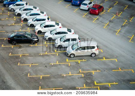 Car parking and empty parking lots Top view.