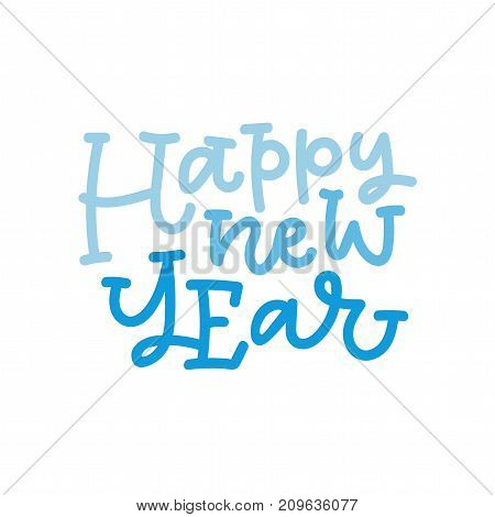 Happy new year hand lettering. Can be used on postcards, invitations, bags and etc.