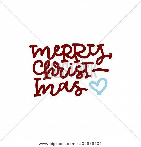 Merry christmas hand lettering in red with blue heart on white background.
