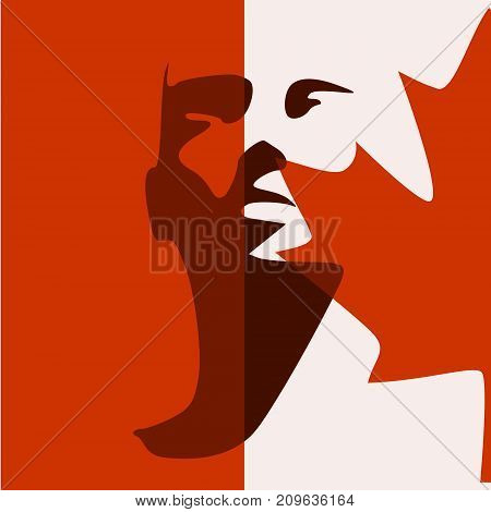 Human head silhouette. Face front view. Elegant silhouette of part of human face textured by Flag of Canada