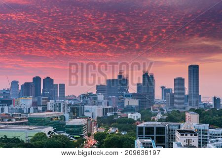 Cityscape at morning scene in Singapore Singapore downtown.