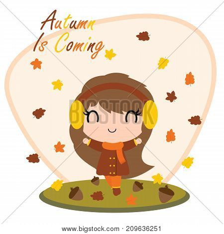 Cute girl behind maple leaves and Autumn is coming text vector cartoon illustration for thanksgiving's day card design, wallpaper and greeting card