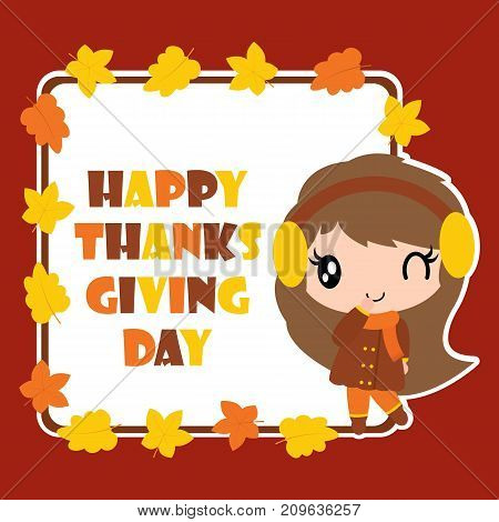 Cute girl and maple leaves frame vector cartoon illustration for thanksgiving's day card design, wallpaper and greeting card