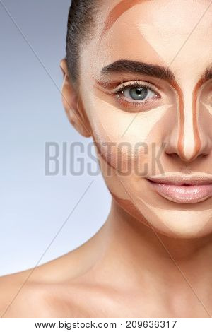 Woman With Contouring On Half Face