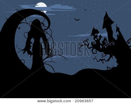 halloween concept background, illustration