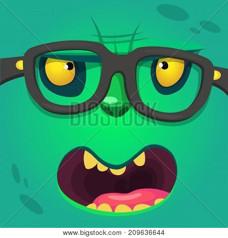 Cartoon smart zombie wearing glasses. Vector illustration of furry green monster