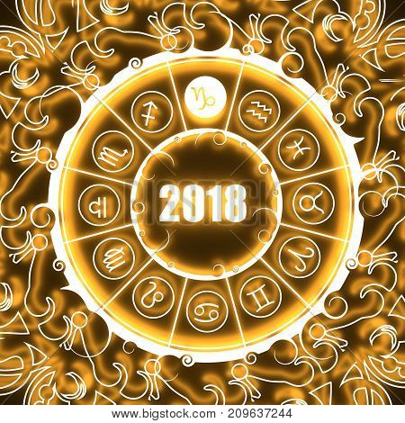 Astrological symbols in the circle. Capricorn sign. Celebration card template. Neon shine illumination. Zodiac circle with 2018 new year number. 3D rendering