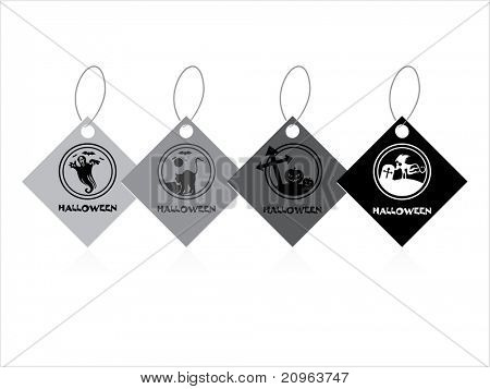 background with set of four halloween tag, illustration