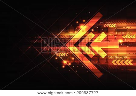 Speed of digital into the world of the future on a dark orange background.