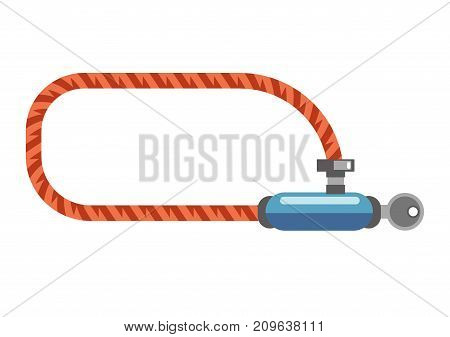 Lock for bicycles to park safely with key in it isolated cartoon flat vector illustration on white background. Strong solid rope with small mechanism to keep it closed and not allow to steel vehicle.