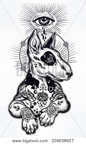 Vintage style gothic Bull terrier portrait in traditional flash art tattoos with sacred eye. Character tattoo design for dog pet lovers, artwork for print, textiles. Isolated vector illustration.