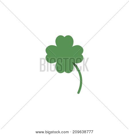 Clover flat icon. Single high quality flat symbol of gambling for web design or mobile app. Color sign of casino for design logo, visit card, etc. Exclusive of lottery.