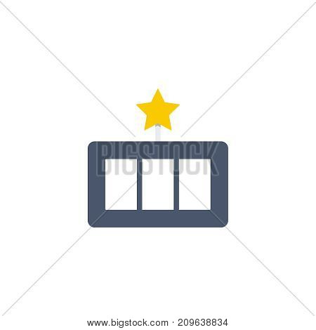 Slot machine flat icon. Single high quality outline symbol of gambling for web design or mobile app. Thin line signs of casino for design logo, visit card, etc. Outline logo of lottery.
