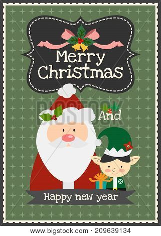 Merry Christmas vector greeting card Christmas Santa Claus with elf character invitation card