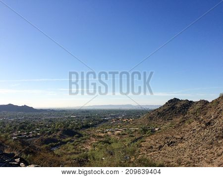 Cool October morning at North Mountain Park hiking trails in Phoenix Arizona; Copyspace