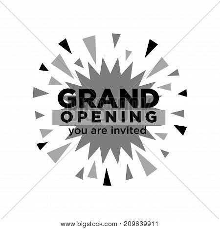 Grand opening invitation isolated minimalistic monochrome vector illustration on white background. Firework explosion made of small colorful geometric forms and thick sign over it. Big event promo poster.