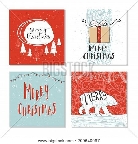 Set Of 4 Cute Christmas Gift Cards With Quote Merry Christmas