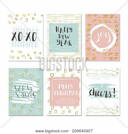 Set Of 6 Christmas And Happy New Year Greeting Cards With Handwritten Brush Lettering And Decorative