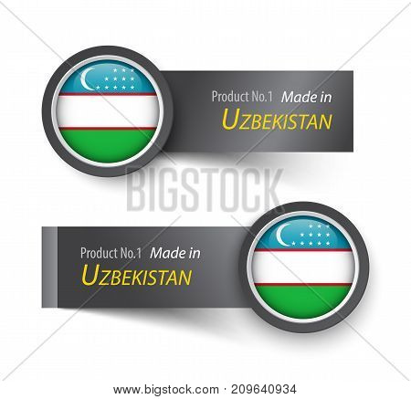 Flag icon and label with text made in Uzbekistan .