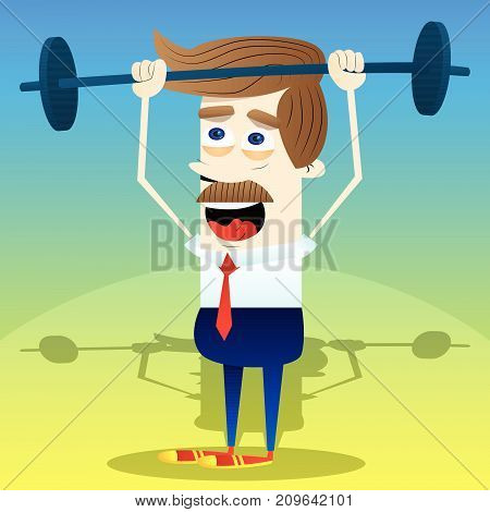 Successful weightlifter business office worker lifting barbell. Vector cartoon character illustration.