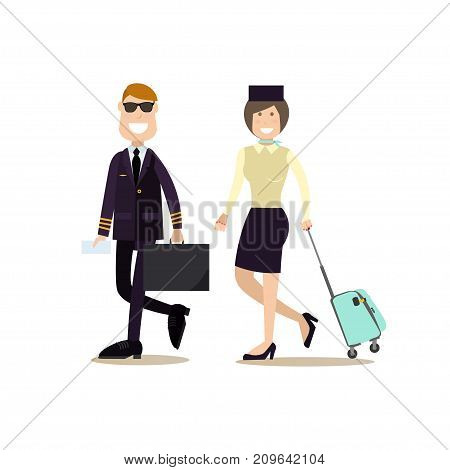 Vector illustration of pilot and stewardess with luggage. Airline staff, cabin crew flat style design element, icon isolated on white background.