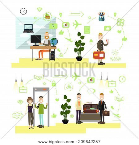 Vector illustration of passengers making reservation of online tickets, passing security checkpoint at airport terminal. Airport people symbols, icons isolated on white background. Flat style design.
