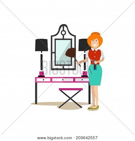 Vector illustration of cleaning lady washing dyes from vanity mirror with brush. Cleaning people flat style design element, icon isolated on white background.