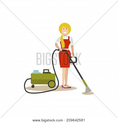 Vector illustration of cleaning lady with vacuum cleaner. Cleaning people flat style design element, icon isolated on white background.
