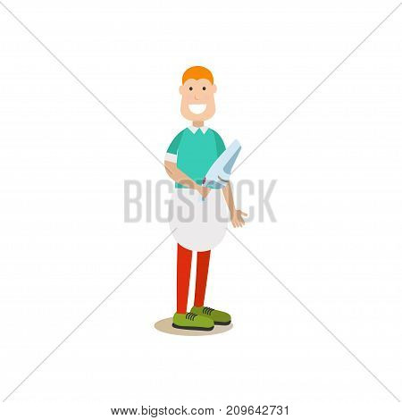 Vector illustration of cleaner male doing the vacuuming with hand vacuum. Cleaning people flat style design element, icon isolated on white background.