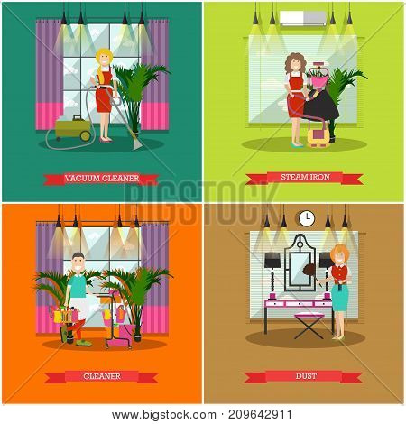Vector set of cleaning posters, banners. Vacuum cleaner, Steam iron, Cleaner and Dust flat style design elements.